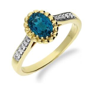 Pierścionek zaręczynowy z diamentemi i topazem London KU 3596 LBT owal opr.flower próba 585
