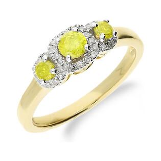 Pierścionek zaręczynowy z diamentami RQ 252M YELLOW DIAMOND próba 585