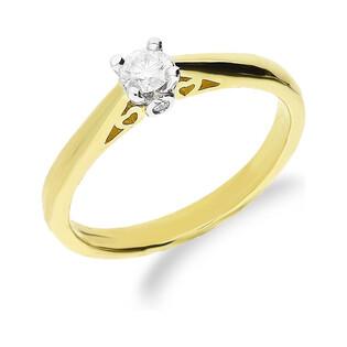 Pierścionek zaręczynowy z diamentem SOLITER RS0407 serca pod koroną próba 585