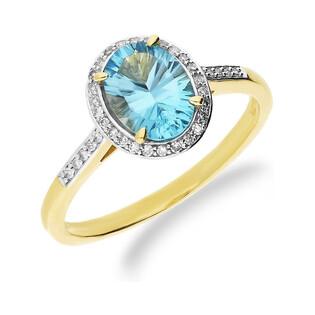 Pierścionek zaręczynowy topaz blue 2,00ct+bryl 0,10ct RSV0158 TOP owal Markiza