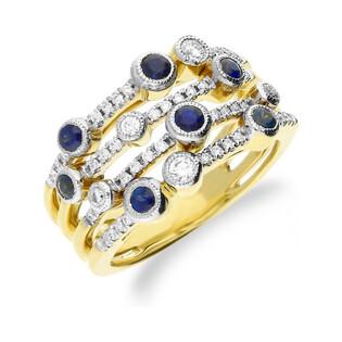 Pierścionek złoty z diamentami i szafirami KU 161908 SAP obr.ażurowa próba 585