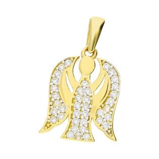 Medalik złoty Anioł z cyrkoniami nr MZ T23-P-1128-YW-CZ próba 585