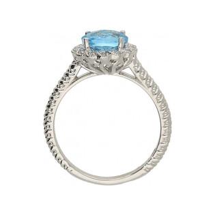Pierścionek złoty zaręczynowy topaz blue diamenty KU 3409 BT okrągły b.zł próba 585