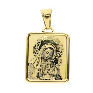 Medalik złoty z wizerunkiem Matki Boskiej z Dzieciątkiem prostokąt nr OS 204-IP69-18 laser próba 585