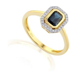 Pierścionek złoty z szafirem i diamentami nr AW 36151 Y-SA prostokąt Markiza próba 585
