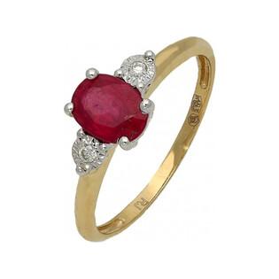 Pierścionek zaręczynowy z rubinem i diamentami RQ 396M-RU owal próba 585