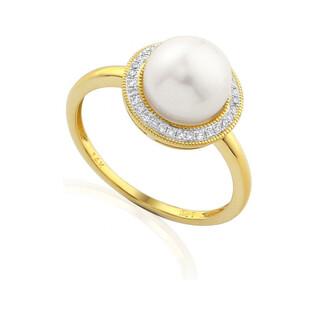 Pierścionek złoty zaręczynowy z perłą i diamentami AW 36223 Y okr.Markiza próba 585 MARKIZA