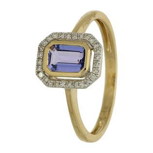 Pierścionek zaręczynowy z tanzanitem i diamentami nr. AW 36151 Y-TA prostokąt Markiza próba 585 MARKIZA