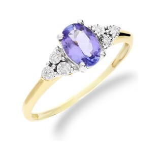 Pierścionek zaręczynowy z diamentami i tanzanitem RQ 397M-TZ owal próba 585 LAUREL