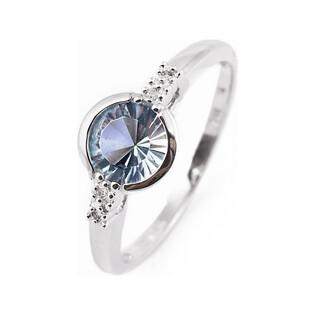 Złoty pierścionek topaz blue z diamentami FR 01833-52-0537 próba 585 LAUREL