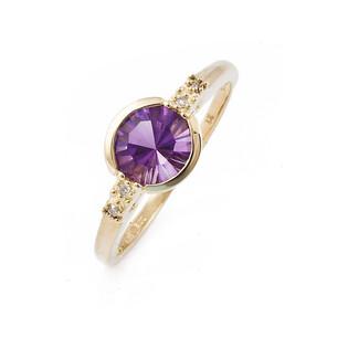 Złoty pierścionek zaręczynowy z ametystem i diamentami FR 01833-51-0557 próba 585 LAUREL