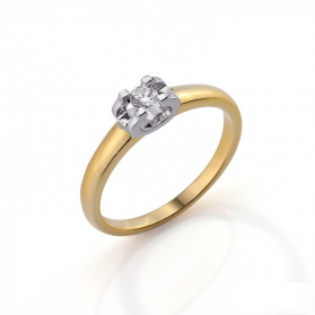 Pierścionek zaręczynowy dwukolorowy CARTIE z diamentem AW 39808 YW próba 585 ETERNO