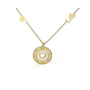 Naszyjnik srebrny pozłacany koło z masą perłową i sercem nrTA CLT9632 GOLD próba 925