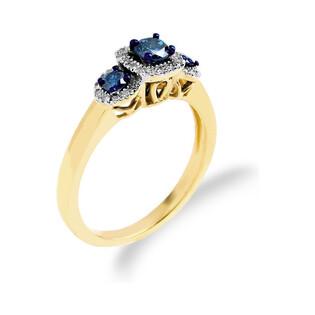 Pierścionek zaręczynowy z diamentami niebieskimi RQ 252M BLUE DIAMOND próba 585 NOBLE