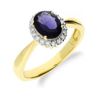 Pierścionek zaręczynowy z diamentami KU 8 IO owal próba 585