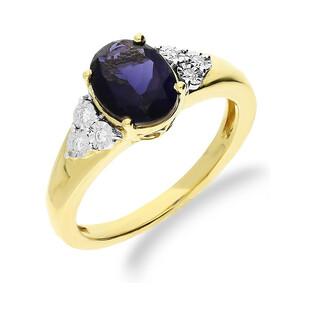 Pierścionek zaręczynowy z diamentem KU 9 IO owal próba 585 LAUREL