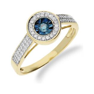 Pierścionek złoty zaręczynowy niebieskie diamenty RQ 392M BLUE DIAMONDpróba 585
