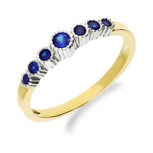 Złoty pierścionek z szafirowymi cyrkoniami NB 501312 sz próba 333