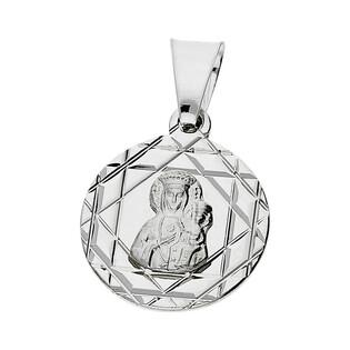 Medalik srebrny Matka Boska Częstochowska okrągła MV GMD183 próba 925
