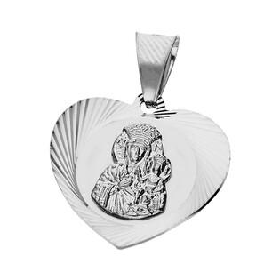 Medalik srebrny Matka Boska Częstochowska serce dis + mat MV MD124 rod próba 925