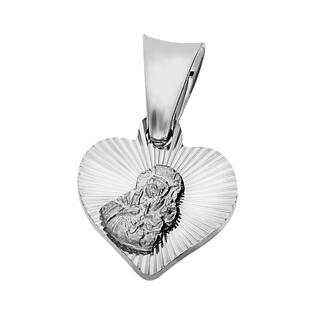 Medalik srebrny z wizerunkiem Matki Boskiej Częstochowskiej w sercu nr MV MD491 rod próba 925
