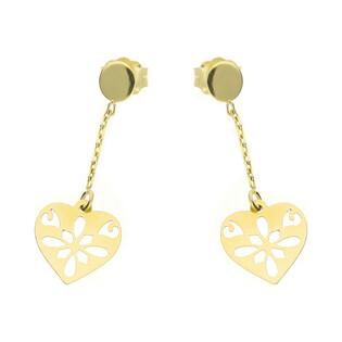 Kolczyki złote z serce ażurowym na łańcuszku/sztyft nr MZ T23-E-0218-46-LZ próba 585