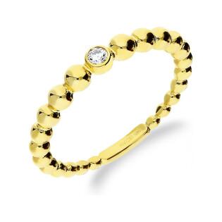 Pierścionek złoty z cyrkonią na szynie beads nr AR ICR5070-FCZ próba 585