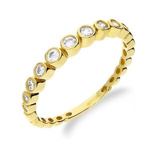 Pierścionek złoty rings z cyrkoniami w gładkiej oprawie nr AR ICR5398-FCZ próba 585
