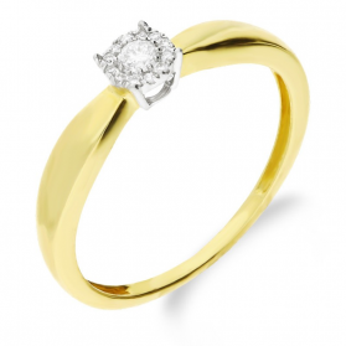 Pierścionek zaręczynowy z diamentem MIRAGE nr RQ 459M próba 585