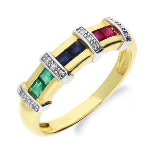 Pierścionek złoty zaręczynowy z kamieniami naturalnymi nr RSV0218 EM+RB+SA LINE prost próba 585