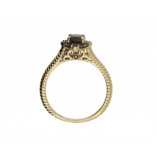 Pierścionek zaręczynowy z diamentami i kwarcem dymnym KU 3414 SMCH próba 585