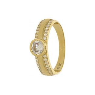 Pierścionek złoty cyrkonia okr.+2rz drobne środek nr CA SZ-014 próba 585