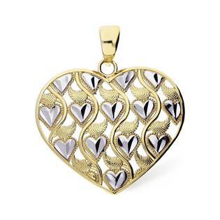 Serduszko złote serce ażur serca dis+listki dwa kolory złota nr AR XXKP210116-YW-DC próba 333