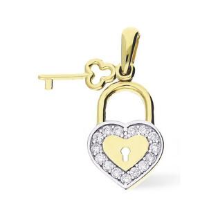 Zawieszka kłódka serce cyrkonie+kluczyk MZ P1440-CZ próba 585