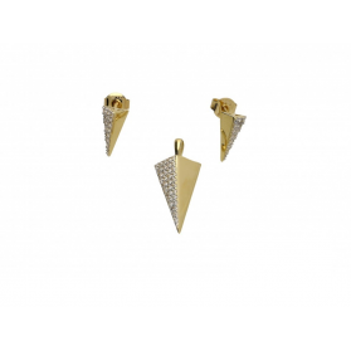Zawieszka trójkąt z cyrkoniami SIMPLE EP322-CZ-P321-CZ Au 585