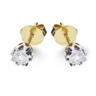 Kolczyki złote z diamentami nr KU 36570 Y