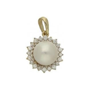 Zawieszka perła biała 7mm+cyrkonie w koło MZ 136-CZ-PEARL próba 585