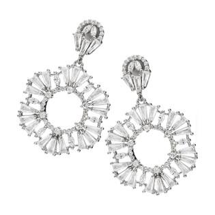 Kolczyki srebrne wiszące kwiatki z cyrkoniami/sztyft OA SH0055 próba 925