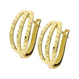 Kolczyki złote blaszki ażur paski grawerowane nr MZ T5-E-0219-1-DC próba 585
