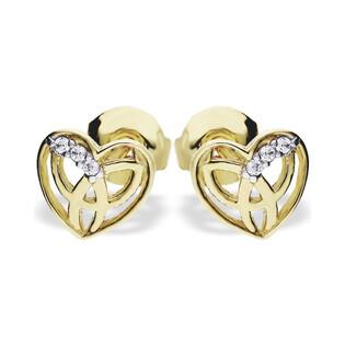 Kolczyki złote serca ażurowe z cyrkoniami nr MZ ES205-CZ próba 375
