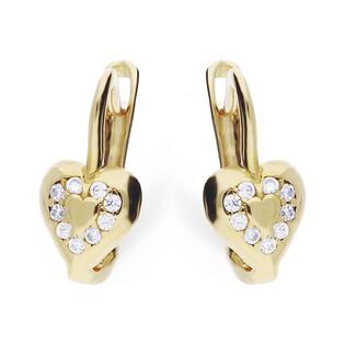 Kolczyki złote dla dziewczynki serca z cyrkoniami nr MZ T5-E-CK1129-CZ próba 375