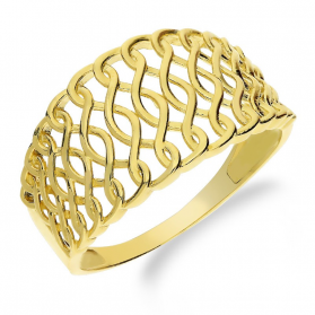Pierścionek złoty obrączkowy siatka nr NB 501643 próba 585