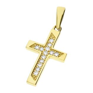 Krzyżyk złoty z cyrkoniami ramiona kwadratowe MZ T23-P-362-YW-CZ próba 333