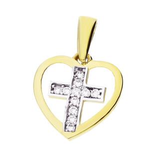 Krzyżyk złoty z cyrkoniami w ramce z serca MZ T23-P-1339-YW-CZ próba 333