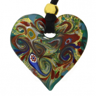 Naszyjnik ze szkła murano OVER serce z wzorem folk KQ149