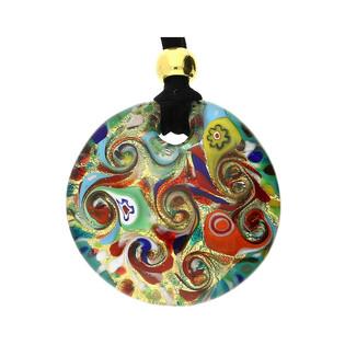 Naszyjnik ze szkła murano OVER kółko z motywem folk KQ102