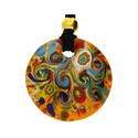 Naszyjnik ze szkła murano OVER kółko z motywem folk KQ108