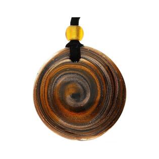 Naszyjnik ze szkła murano OVER kółko brązowo - złote KQ064-1