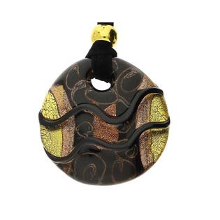 Naszyjnik ze szkła murano OVER kółko czarno-brązowo-złoty KQ158