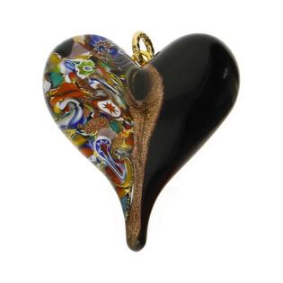 Zawieszka ze szkła murano OVER serce z motywem folk KQ160-1
